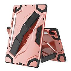 Funda Bumper Silicona y Plastico Mate Carcasa con Soporte para Samsung Galaxy Tab S6 10.5 SM-T860 Oro Rosa