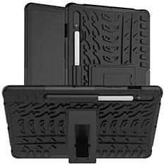 Funda Bumper Silicona y Plastico Mate Carcasa con Soporte para Samsung Galaxy Tab S7 11 Wi-Fi SM-T870 Negro