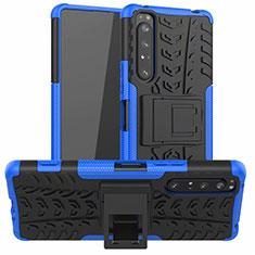 Funda Bumper Silicona y Plastico Mate Carcasa con Soporte para Sony Xperia 1 II Azul