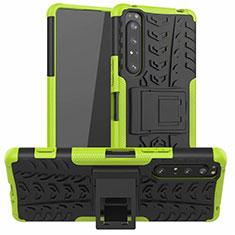 Funda Bumper Silicona y Plastico Mate Carcasa con Soporte para Sony Xperia 1 II Verde