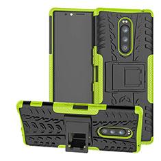 Funda Bumper Silicona y Plastico Mate Carcasa con Soporte para Sony Xperia 1 Verde