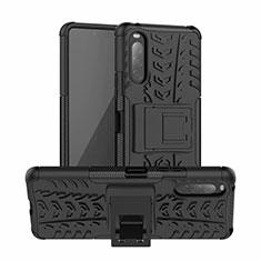 Funda Bumper Silicona y Plastico Mate Carcasa con Soporte para Sony Xperia 10 II Negro