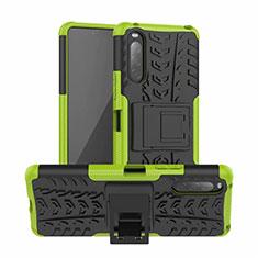 Funda Bumper Silicona y Plastico Mate Carcasa con Soporte para Sony Xperia 10 II Verde