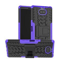 Funda Bumper Silicona y Plastico Mate Carcasa con Soporte para Sony Xperia 10 Morado