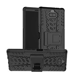 Funda Bumper Silicona y Plastico Mate Carcasa con Soporte para Sony Xperia 10 Negro