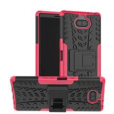 Funda Bumper Silicona y Plastico Mate Carcasa con Soporte para Sony Xperia 10 Plus Rosa Roja