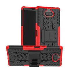 Funda Bumper Silicona y Plastico Mate Carcasa con Soporte para Sony Xperia 10 Rojo