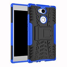 Funda Bumper Silicona y Plastico Mate Carcasa con Soporte para Sony Xperia L2 Azul