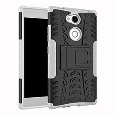 Funda Bumper Silicona y Plastico Mate Carcasa con Soporte para Sony Xperia L2 Blanco