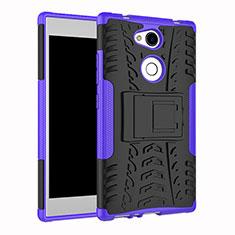 Funda Bumper Silicona y Plastico Mate Carcasa con Soporte para Sony Xperia L2 Morado