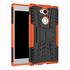 Funda Bumper Silicona y Plastico Mate Carcasa con Soporte para Sony Xperia L2 Naranja