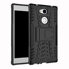 Funda Bumper Silicona y Plastico Mate Carcasa con Soporte para Sony Xperia L2 Negro