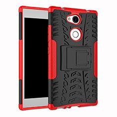 Funda Bumper Silicona y Plastico Mate Carcasa con Soporte para Sony Xperia L2 Rojo