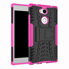 Funda Bumper Silicona y Plastico Mate Carcasa con Soporte para Sony Xperia L2 Rosa Roja