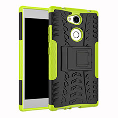 Funda Bumper Silicona y Plastico Mate Carcasa con Soporte para Sony Xperia L2 Verde