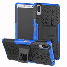 Funda Bumper Silicona y Plastico Mate Carcasa con Soporte para Sony Xperia L3 Azul