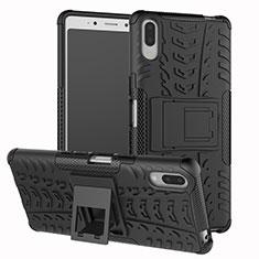 Funda Bumper Silicona y Plastico Mate Carcasa con Soporte para Sony Xperia L3 Negro