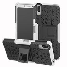Funda Bumper Silicona y Plastico Mate Carcasa con Soporte para Sony Xperia L3 Plata