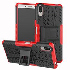 Funda Bumper Silicona y Plastico Mate Carcasa con Soporte para Sony Xperia L3 Rojo