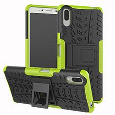 Funda Bumper Silicona y Plastico Mate Carcasa con Soporte para Sony Xperia L3 Verde