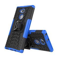 Funda Bumper Silicona y Plastico Mate Carcasa con Soporte para Sony Xperia XA2 Azul