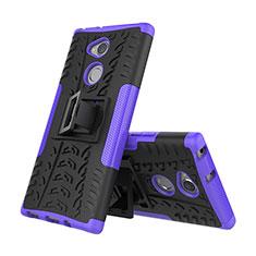 Funda Bumper Silicona y Plastico Mate Carcasa con Soporte para Sony Xperia XA2 Morado