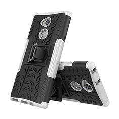 Funda Bumper Silicona y Plastico Mate Carcasa con Soporte para Sony Xperia XA2 Plus Blanco
