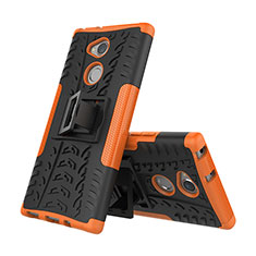 Funda Bumper Silicona y Plastico Mate Carcasa con Soporte para Sony Xperia XA2 Plus Naranja