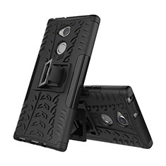 Funda Bumper Silicona y Plastico Mate Carcasa con Soporte para Sony Xperia XA2 Plus Negro