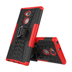 Funda Bumper Silicona y Plastico Mate Carcasa con Soporte para Sony Xperia XA2 Plus Rojo