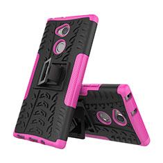 Funda Bumper Silicona y Plastico Mate Carcasa con Soporte para Sony Xperia XA2 Plus Rosa Roja