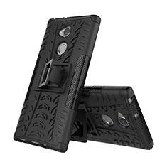 Funda Bumper Silicona y Plastico Mate Carcasa con Soporte para Sony Xperia XA2 Ultra Negro