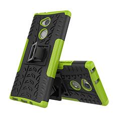 Funda Bumper Silicona y Plastico Mate Carcasa con Soporte para Sony Xperia XA2 Verde