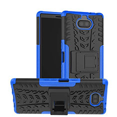 Funda Bumper Silicona y Plastico Mate Carcasa con Soporte para Sony Xperia XA3 Azul