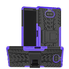 Funda Bumper Silicona y Plastico Mate Carcasa con Soporte para Sony Xperia XA3 Morado