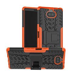 Funda Bumper Silicona y Plastico Mate Carcasa con Soporte para Sony Xperia XA3 Naranja