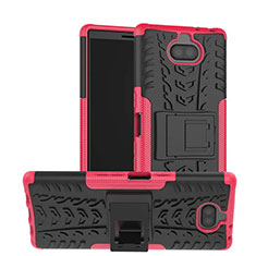 Funda Bumper Silicona y Plastico Mate Carcasa con Soporte para Sony Xperia XA3 Rosa Roja