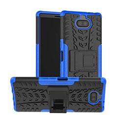 Funda Bumper Silicona y Plastico Mate Carcasa con Soporte para Sony Xperia XA3 Ultra Azul