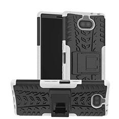 Funda Bumper Silicona y Plastico Mate Carcasa con Soporte para Sony Xperia XA3 Ultra Blanco