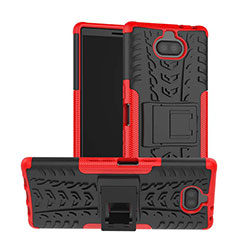 Funda Bumper Silicona y Plastico Mate Carcasa con Soporte para Sony Xperia XA3 Ultra Rojo