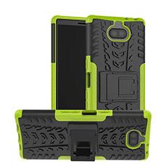 Funda Bumper Silicona y Plastico Mate Carcasa con Soporte para Sony Xperia XA3 Verde