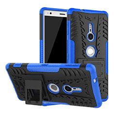 Funda Bumper Silicona y Plastico Mate Carcasa con Soporte para Sony Xperia XZ2 Azul