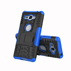 Funda Bumper Silicona y Plastico Mate Carcasa con Soporte para Sony Xperia XZ2 Compact Azul