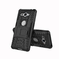 Funda Bumper Silicona y Plastico Mate Carcasa con Soporte para Sony Xperia XZ2 Compact Negro