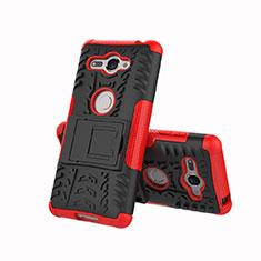 Funda Bumper Silicona y Plastico Mate Carcasa con Soporte para Sony Xperia XZ2 Compact Rojo