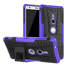 Funda Bumper Silicona y Plastico Mate Carcasa con Soporte para Sony Xperia XZ2 Morado