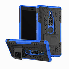 Funda Bumper Silicona y Plastico Mate Carcasa con Soporte para Sony Xperia XZ2 Premium Azul