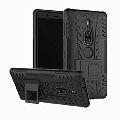 Funda Bumper Silicona y Plastico Mate Carcasa con Soporte para Sony Xperia XZ2 Premium Negro