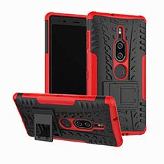 Funda Bumper Silicona y Plastico Mate Carcasa con Soporte para Sony Xperia XZ2 Premium Rojo