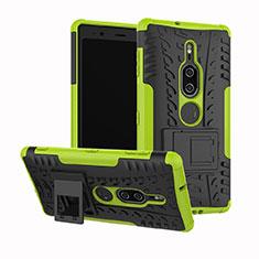 Funda Bumper Silicona y Plastico Mate Carcasa con Soporte para Sony Xperia XZ2 Premium Verde